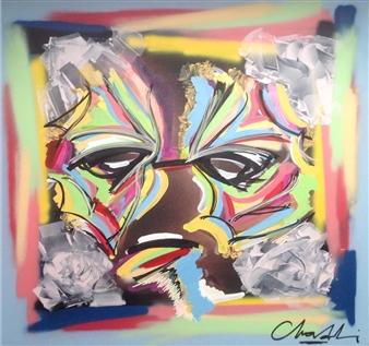 "Untitled 19 Acrylic, Marker & Spray Paint on Canvas 39.5"" x 39.5"""