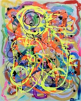 "Untitled 11 - Big Green Series Acrylic on Canvas 30"" x 24"""