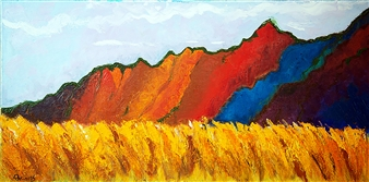 """Standing Mountain Oil on Canvas 15"""" x 30"""""""