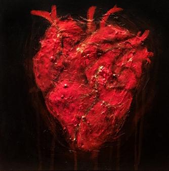 """Bleeding Heart Acrylic on Canvas 10"""" x 10"""""""