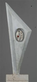 "Macchina Che Crea La Vita Carrara Marble, Silver, Obsidian and Sardinian Coral 16"" x 9"""