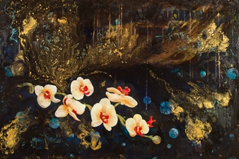 """Orchids1 Acrylic & Mixed Media on Canvas 24"""" x 36"""""""