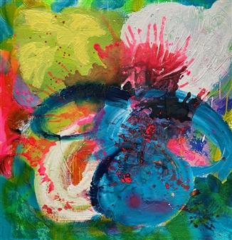 """Blue Magic Acrylic & Spraypaint on Canvas 39.5"""" x 39.5"""""""