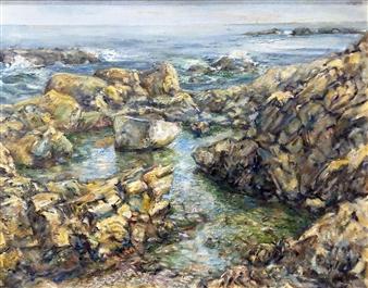"""Bass Rocks, East Gloucester Oil on Canvas 28"""" x 34"""""""