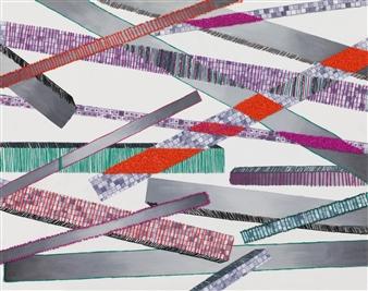 "Straight Paths Acrylic & Mixed Media on Canvas 16"" x 20"""
