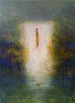 "La Maison en Bleu 2 Acrylic on Canvas 23.5"" x 17.5"""