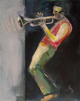 "Blues on Trumpet Acrylic on Canvas 19.5"" x 15.5"""