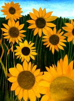 "Sunflowers Oil on Canvas 48"" x 36"""