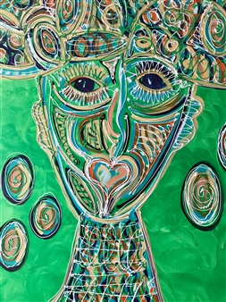 """Heart People Acrylic on Linen 55"""" x 39.5"""""""