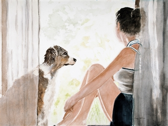 """Dog Adoration Watercolor on Arches 18"""" x 24"""""""