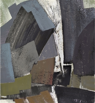 """Falling Mountains No 17 Ink & Mixed Media on Paper 38"""" x 34.5"""""""