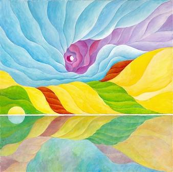 "White Shoreline Acrylic on Canvas 30"" x 30"""