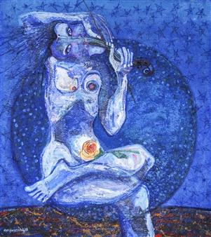 "Romantica Luna Acrylic on Canvas 32"" x 30"""