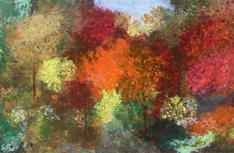 """Autumn in New York Acrylic & Oil on Canvas 24"""" x 36"""""""