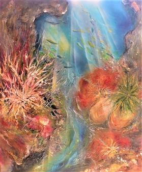 "Aqua Azured Flight Acrylic on Canvas 39.5"" x 32"""