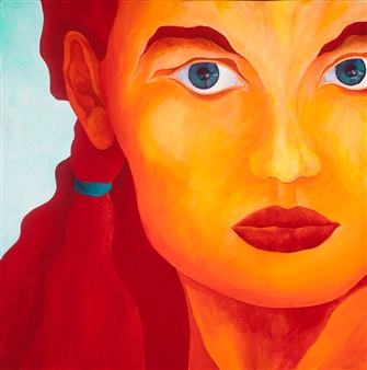 """Visitor a.k.a Green Eyed Girl Acrylic on Canvas 30"""" x 30"""""""