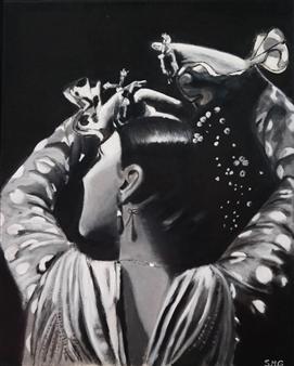 "Gitana en Blanco y Negro Acrylic on Canvas 19.5"" x 15.5"""