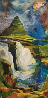 "New Destinations I Acrylic & Mixed Media on Canvas 36"" x 18"""