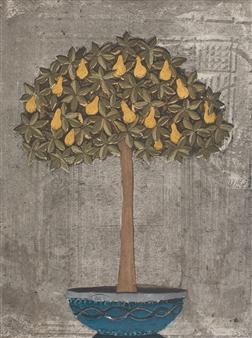 """Oliveiran päärynäpuu  (Oliveira's Pear Tree) Etching on Paper 16"""" x 12"""""""