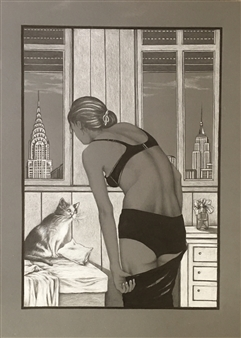 "Manhattan Cat White/Black Pencil on Grey Cardboard 27.5"" x 20"""
