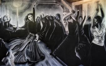 """Clase de Flamenco Acrylic & Oil on Canvas 50"""" x 75.5"""""""