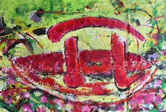 """The Mystery of Pi and the Nature Acrylic & Mixed Media on Canvas 27.5"""" x 39.5"""""""
