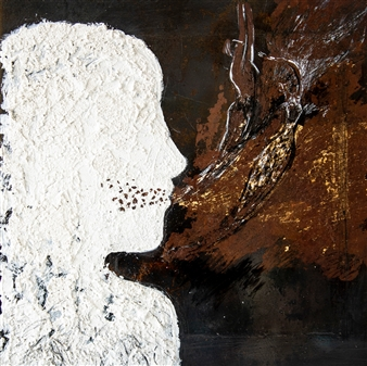 """Roots 4 Gold Leaf, Chalk and Mixed Media on treated Black Iron 16"""" x 16"""""""