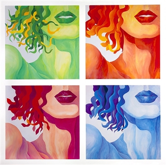 "Four Seasons of Eve  (Quadriptych of four 24x24"" panels)