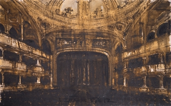 "Teatro Santa Helena Oil & Charcoal on Canvas 47.5"" x 59"""