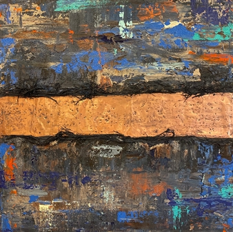 """Copper Trails 1 Mixed Media on Canvas 36"""" x 36"""""""