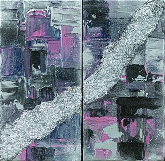 Pink & Silver Diptych
