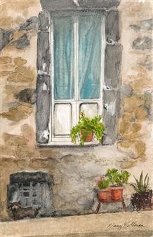 "Medieval Wall Lake Bosenia Watercolor on Paper 8.5"" x 5.5"""