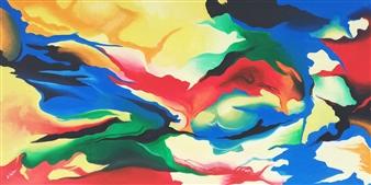 """Emozione  (Emotions) Acrylic on Canvas 27.5"""" x 55"""""""