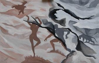 "Ombre 1  (Shadows 1) Acrylic on Wood 25.5"" x 39.5"""