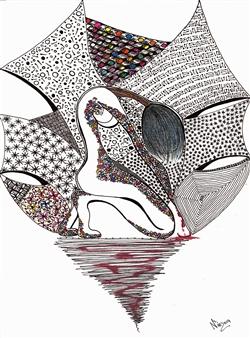 """Punto de Quiebre Black Fine Point Pen & Colored Markers on Paper 17"""" x 11"""""""