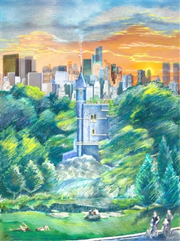 """Castle Central Central Park_ The 'Coolest' Weather Center on Earth Hard Pastels with Multi-media 44"""" x 32"""""""