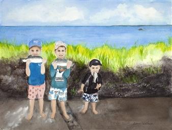 "3 Boys Fishin' Watercolor on Paper 12"" x 16"""