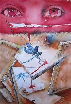 """Rojo Pasión...El Arte de Amar Watercolor on Paper 20"""" x 13.5"""""""