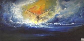 "Gatekeeper Acrylic & Oil on Canvas 10"" x 20"""