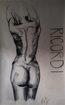 "Ricordi Charcoal on Paper 80"" x 43.5"""