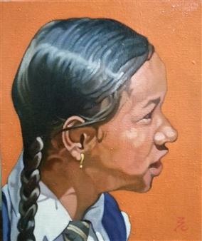 "Braid Little Girl at Kathmandu Oil on Canvas 17.5"" x 15"""