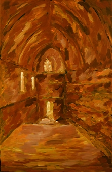"""Rhodes Palace Oil on Canvas 27.5"""" x 18"""""""