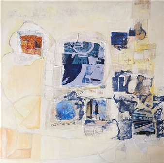 """Unfinished Thoughts, No. 15 Collage & Mixed Media on Canvas 36"""" x 36"""""""