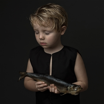 """Young Boy with a Fish Digital Photography 24"""" x 20"""" <span style='color:red;'>Sold</span>"""