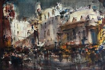 """Urbano con Lluvia Watercolor 12"""" x 17"""""""