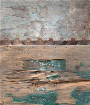 "Paesaggi in Allerta Meteo No 5 Centre Centre Mixed Media on Wood 16"" x 14"""