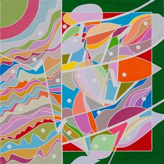 "Color Logic II / Green Acrylic on Canvas 10"" x 10"""