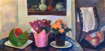 """Still Life with Watermelon Oil on Canvas 18"""" x 36"""""""