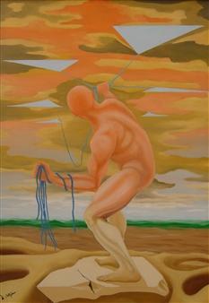 "Pensieri  (Thoughts) Oil on Wood 39.5"" x 27.5"""