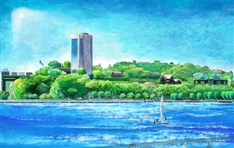 Stevens I.T. Riverfront Bluff Landscape_ Composite Pastel River of Pxels